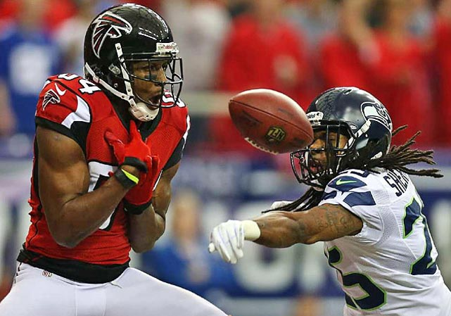 Roddy White was denied a reception on this play but caught five other balls, including a 47-yarder on a TD that put Atlanta up 20-0 by the half.
