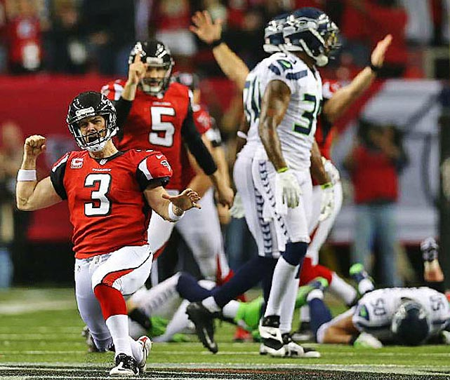 Atlanta kicker Matt Bryant celebrates his game-winning field goal with eight seconds remaining.