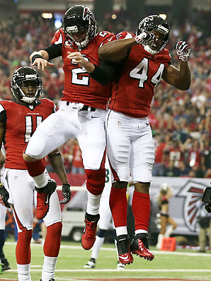 Matt Ryan (No. 2) was 0-3 in the playoffs before posting a 93.8 rating to beat the Seahawks.