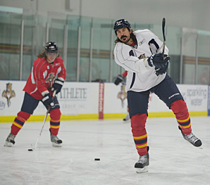 Brainy George Parros (right) brings a good measure of toughness to the Panthers.