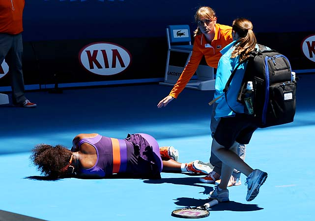 Serena Williams rolled her right ankle and collapsed to the court in her first-round match.
