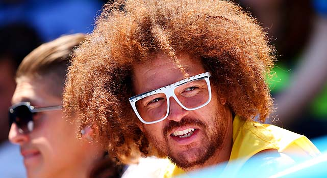 LMFAO's Redfoo watches Azarenka's match.