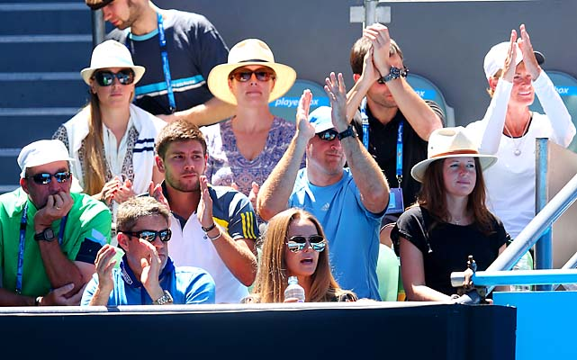 In Andy Murray's box, coach Ivan Lendl (left), girlfriend Kim Sears (front right) and mother Judy Murray (right) look on.