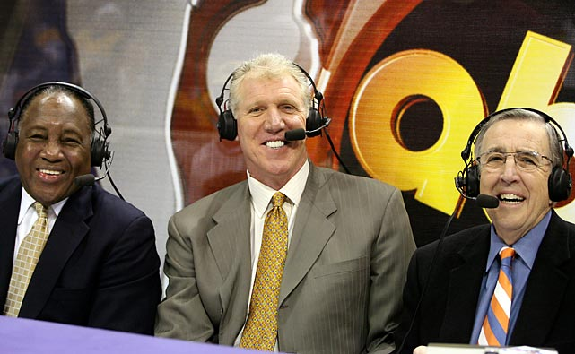 A smiling crew of Steve Jones, Bill Walton and Brent Musburger commentate on a 2006 NBA game featuring the Los Angeles Lakers and the Seattle SuperSonics.