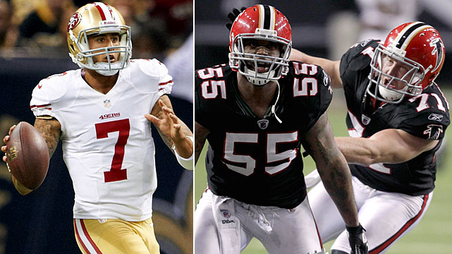 Abraham says he is going to play, but he still has not been cleared by the Falcons. That may put even greater emphasis on Biermann, who will need to try to keep the elusive Kaepernick in the pocket. Both players are critical to limiting the Niners' offense by keeping Kaepernick out of the middle of the field and off the edges.
