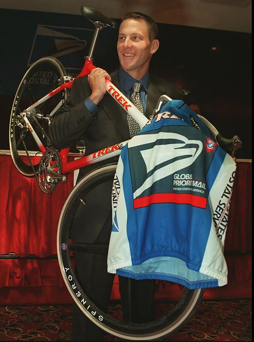 Just over a year after he was diagnosed with stage three testicular cancer, Armstrong signs with the U.S. Postal Service cycling team to resume his cycling career.