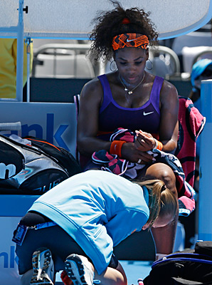 Serena Williams injured her ankle in her first-round match on Tuesday.