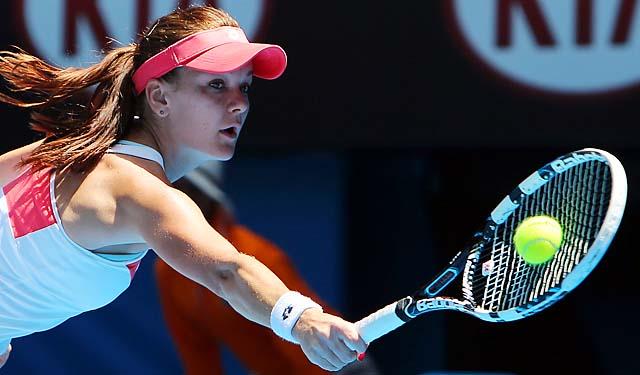 No. 4 Agnieskza Radwanska is well on her way to making her third straight Aussie quarterfinal.