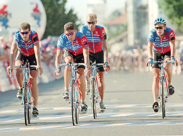 A report in Sports Illustrated revealed that former teammate Stephen Swart (left) claimed that Armstrong (right) was 'the instigator' for EPO use among his teammates.