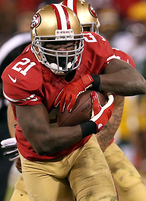 Frank Gore had his best rushing day of 2012 against the Packers, posting 119 yards. He added 48 yards through the air.