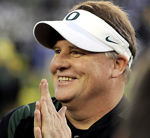 Chip Kelly was 46-7 in four years at Oregon.