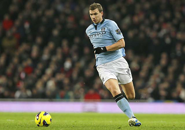 Edin Dzeko, tied for fifth in England in goals, and Manchester City are in second place behind United.