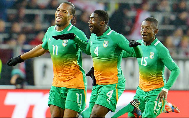 Didier Drogba (left), Kolo Toure and Max Gradel's Ivory Coast hasn't won the African Cup of Nations since 1992.