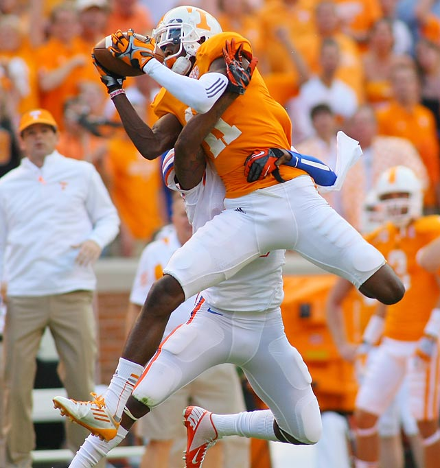 Partially due to a torn ACL suffered three games into his sophomore season, Justin Hunter only started one full college season. Despite his limited time, the Tennessee wide receiver certainly impressed, catching 73 balls for 1,083 yards and nine touchdowns in 2012. He had 302 yards through two games in 2011 before getting injured. At 6-foot-4, he can also present matchup problems for defenses.
