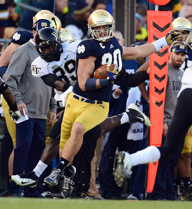 Tyler Eifert holds the Notre Dame records for receptions and receiving yards in a season by a tight end -- and that wasn't even from his 2012 Mackey Award-winning season. Eifert has 1,488 receiving yards and nine touchdowns in his past two seasons for the Fighting Irish, making him the top tight end prospect in this year's draft.