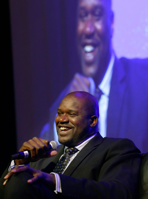 Shaquille O'Neal spoke at the keynote luncheon Wednesday on the opening day of the NCAA convention.