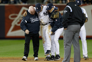Derek Jeter broke his ankle in Game 1 of the AL championship series against Detroit on Oct. 13.