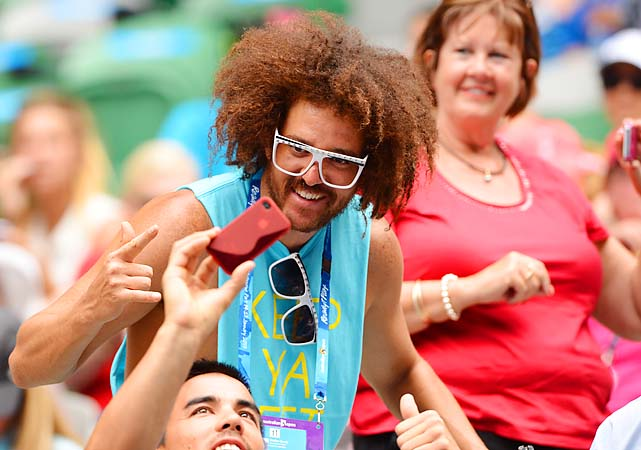 LMFAO's Redfoo was again in attendance for an Azarenka match.