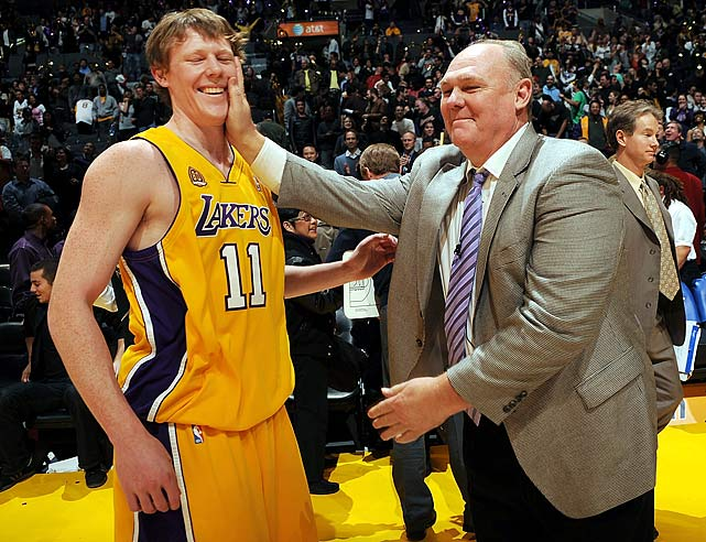 Jan. 21, 2008: Lakers 116, Nuggets 99 Coby Karl: 0-1 FG, 1-1 FT, 1 Reb, 1 Ast, 1 Pt April 23, 2008: Lakers 122, Nuggets 107 Coby Karl: 0-0 FG, 0-0 FT, 1 Ast, 0 Pts <bold>Coby 2, George 0</bold>
