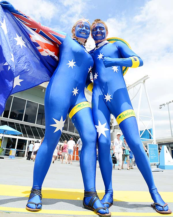 Aussie fans showed their support for Tomic and James Duckworth.