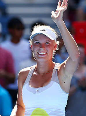 Caroline Wozniacki advanced to the third round by downing Donna Vekic of Croatia.