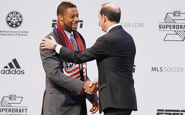 Andrew Farrell is introduced by MLS commissioner Don Garber as the first pick of the draft.