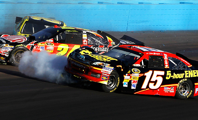 Jeff Gordon (24) intentionally wrecked Clint Bowyer (15) at Phoenix last November, and it's still unclear as to whether the two have reconciled.