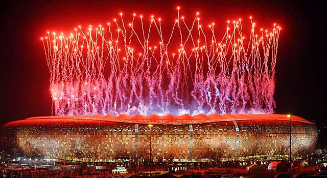 Fireworks light up the sky over Soccer City stadium in Soweto after the 2010 World Cup.
