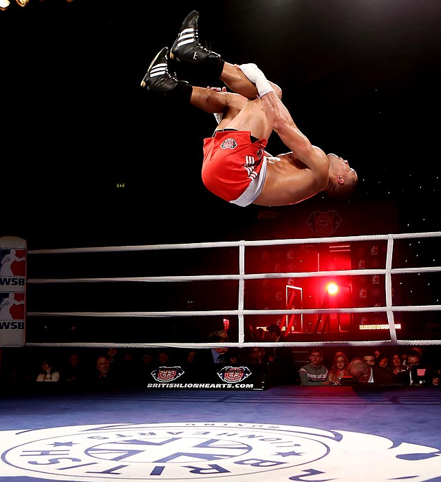 Joe Joyce of British Lionhearts flips out after beating Avery Gibson of USA Knockouts in their 91+ kg bout at York Hall in London.