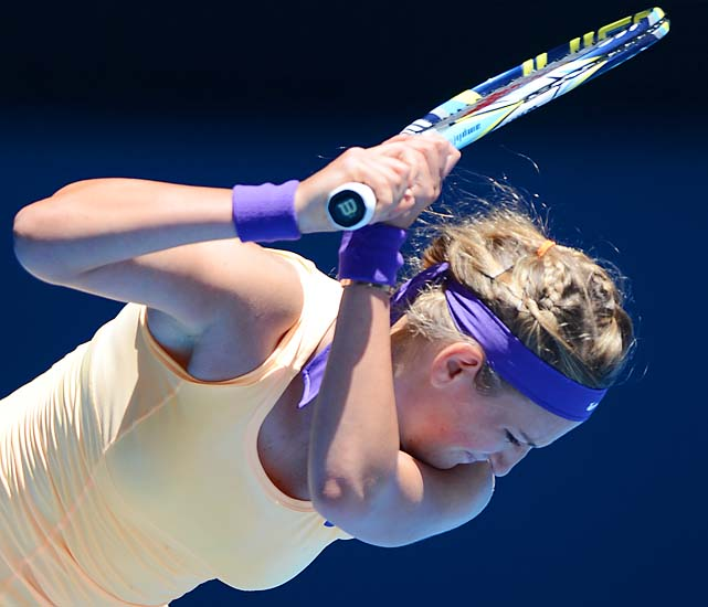 Azarenka dropped a set for the first time in Melbourne. She'll face Elena Vesnina next.