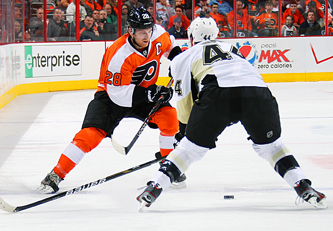 The Flyers were trailing 2-0 before captain Claude Giroux got them on the board in the second period.