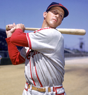 A three-time NL MVP and seven-time NL batting champ, Stan Musial played his entire career in St. Louis.