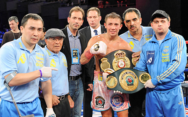 Gennady Golovkin (above) kept his middleweight title with a seventh-round KO of Gabriel Rosado.
