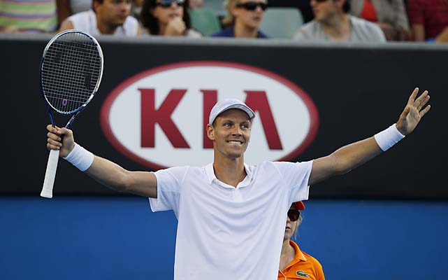No. 5 Tomas Berdych beat Kevin Anderson 6-3, 6-2, 7-6 (13) to make his third straight Australian Open quarterfinal.