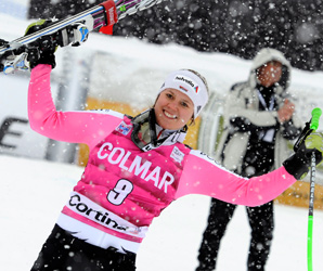 Vikgtoria Rebensburg, the Olympic champion in giant slalom, finished in 1 minute, 16.45 seconds.