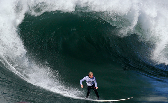 Ryan Augenstein competes during the third heat of the Mavericks Surf Competition.