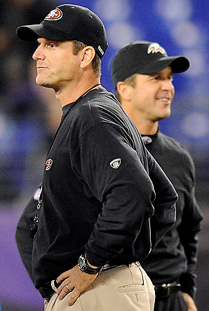 Jim Harbaugh's (foreground) 49ers played brother John's Ravens in 2011. The Ravens won that game, 16-6.
