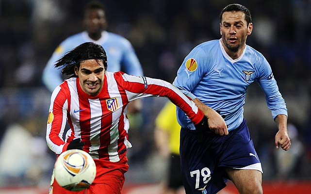 Luciano Zauri (right) battles Radamel Falcao during a Europa League match last year.