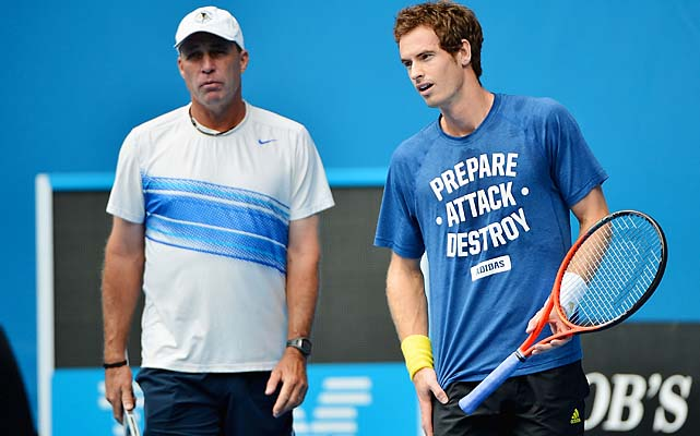 Andy Murray and coach Ivan Lendl prepare for a quarterfinal with Jeremy Chardy.