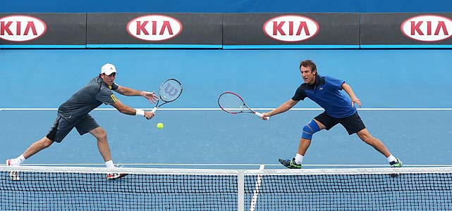 Darren Cahill (left) and Mats Wilander play men's legends doubles.