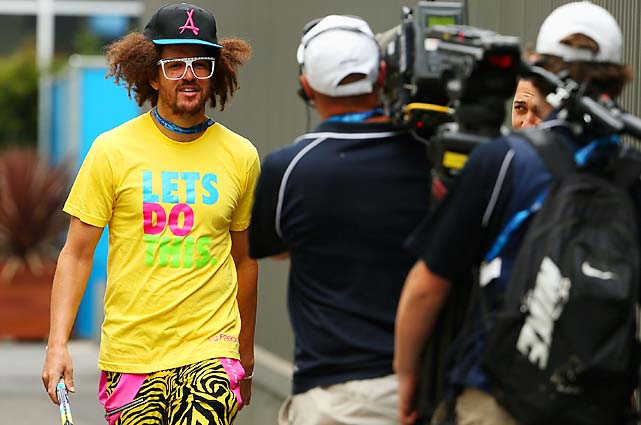 Redfoo of LMFAO has been a fixture at Melbourne Park all tournament.