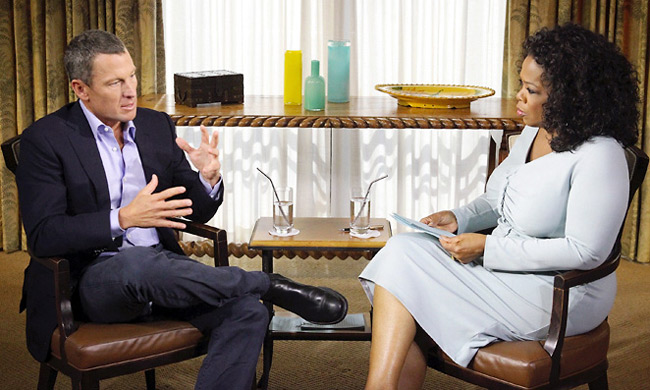 Oprah Winfrey spoke briefly about Lance Armstrong during a lecture in Edmonton.
