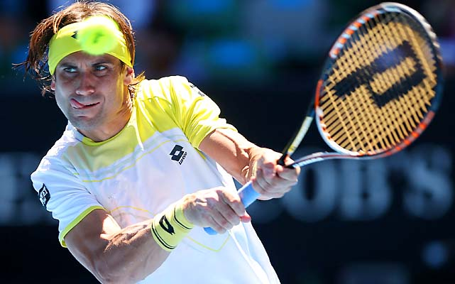 No. 4 David Ferrer outlasted No. 10 Nicolas Almagro 4-6, 4-6, 7-5, 7-6 (4), 6-2 to reach the semifinals.