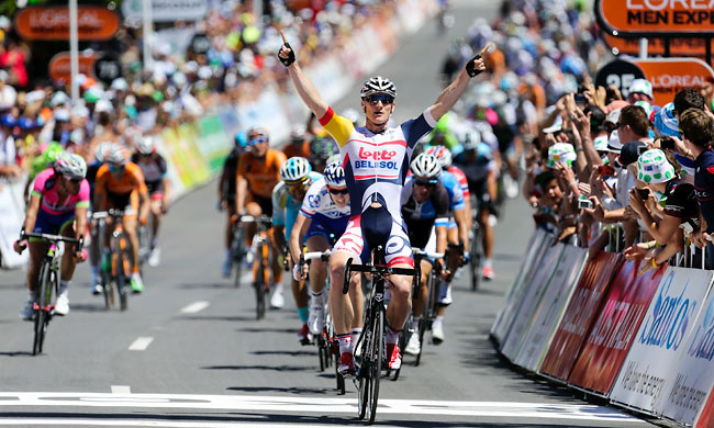 Germany's Andre Greipel equalled Robbie McEwen's record of 12 Tour Down Under stage wins.