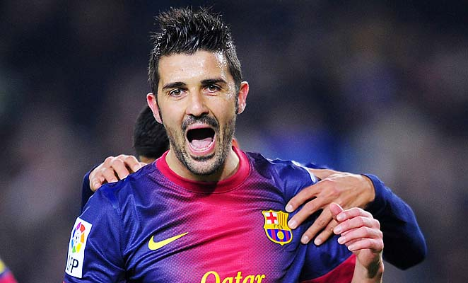 David Villa and Barcelona are in first place in La Liga over Atletico Madrid and Real Madrid.