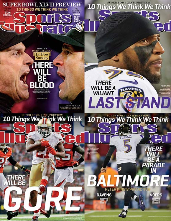 There's plenty to ponder in the run-up to New Orleans, where two brothers will face off on opposite sidelines, two quarterbacks will seize the spotlight, and one living legend will play his final NFL game. One thing we know for sure is that the Ravens vs. Niners will be quite a game. SI's NFL writers give you 10 things that they think for a game full of compelling story lines. (Check out SI's web version of the magazine.)
