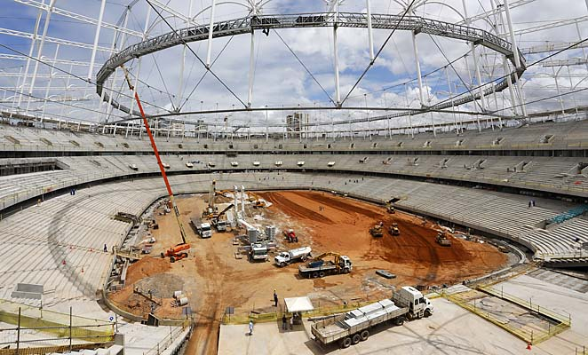 Construction work is under way in the Fonte Nova stadium in Salvador da Bahia, Brazil.