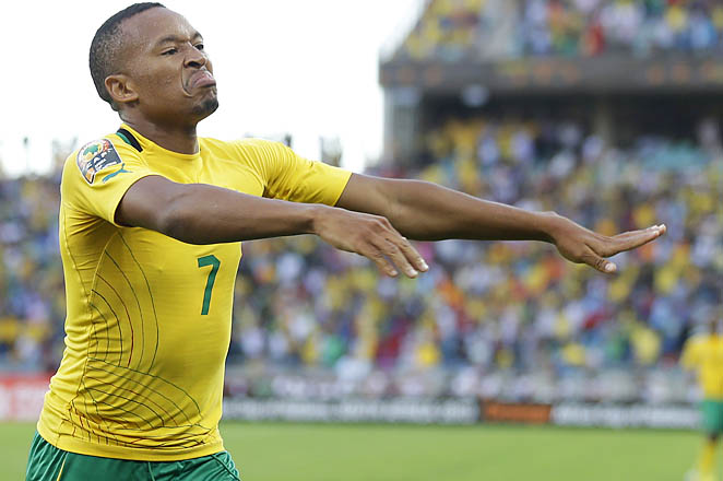 Lehlohonolo Majoro celebrates after scoring in South Africa's 2-0 win over Angola on Wednesday.