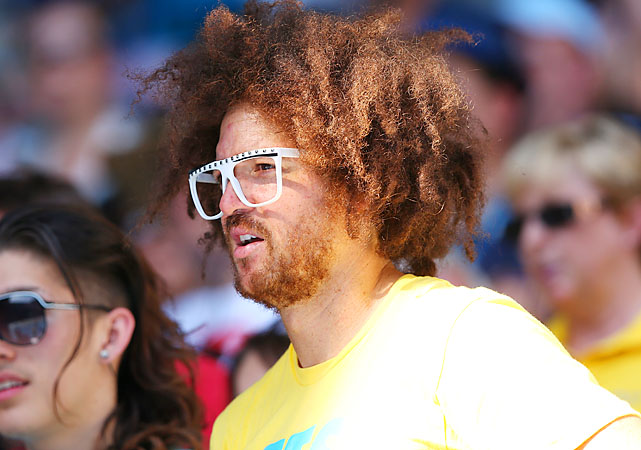 Redfoo of LMFAO, Azarenka's biggest fan (and perhaps much more than that), watches at Rod Laver Arena.