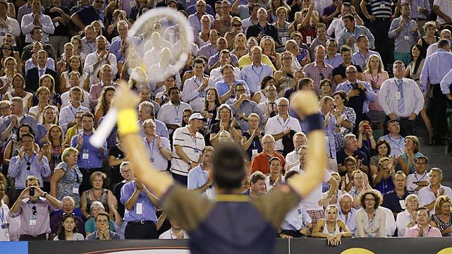 No. 1 Novak Djokovic defeated No. 4 David Ferrer 6-2, 6-2, 6-1 to reach his third straight Australian Open final.